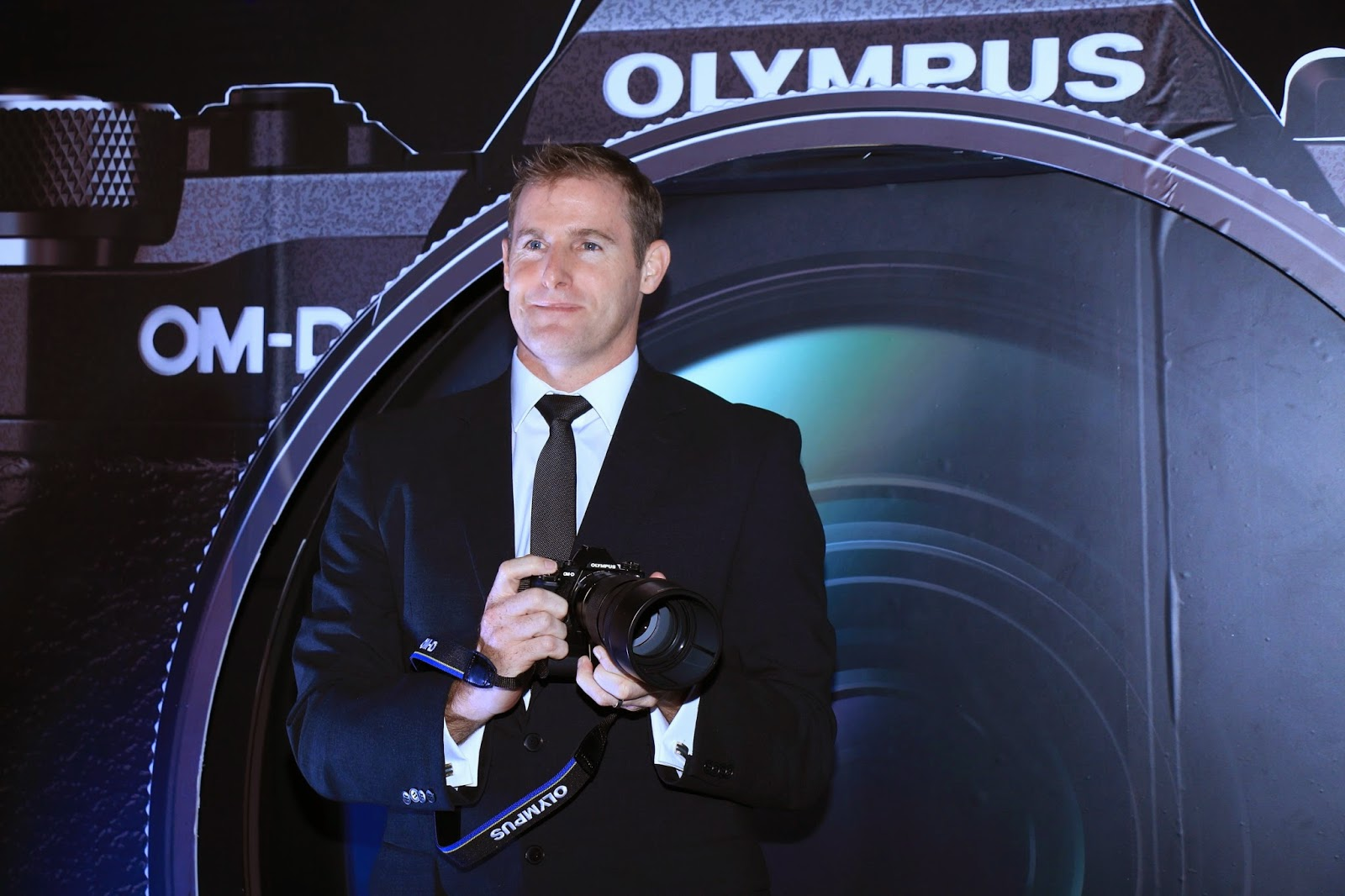 Mr. Marc Radatt, GM - Olympus Corporation Asia Pacific unveiling the Olympus OM-D E-M5 Mark II Mirrorless camera