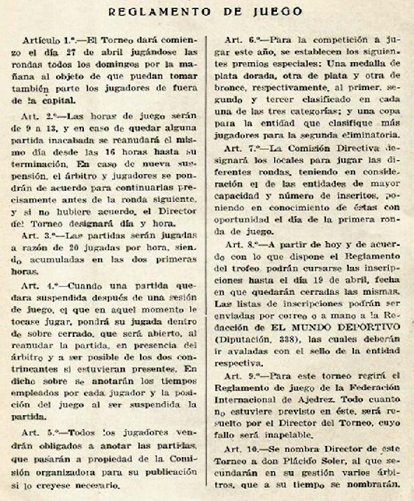 Reglamento de Juego del I Trofeo Dr. Puig i Puig