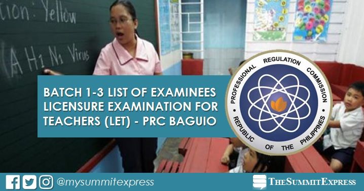 PRC Baguio LET Batch 1-3 list of examinees for 2021-2022