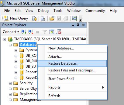 Restore Database SQL Server 2008