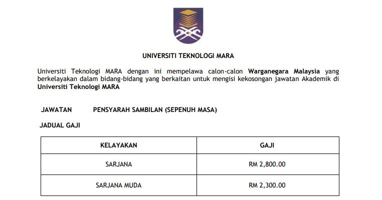 Universiti Teknologi MARA UiTM [ Jawatan Kosong Pensyarah ...