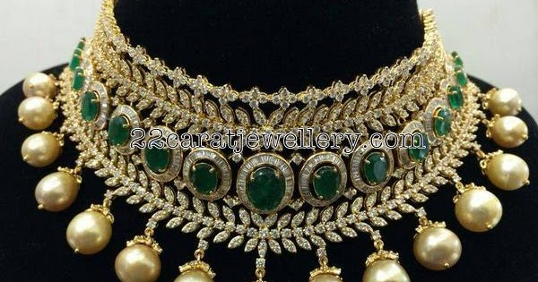 Heavy Zambain Emeralds Choker Jewellery Designs