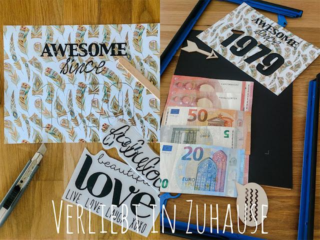 Kleines Upcycling-DIY zum runden Geburstag: Geld-Geschenk aus alten Bilderrahmen