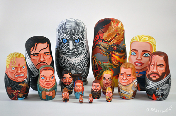 Green Pear Diaries, ilustraciones, matrioskas, Andy Stattmiller, Matryoshka Mania, Game of Thrones