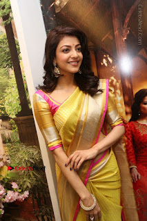 Actress Kajal Agarwal Stills in Golden Silk Saree at Trisha Sesigner Store Launch  0043.jpg