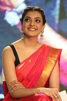 Kajal Aggarwal in Red Saree Sleeveless Black Blouse Choli at Santosham awards 2017 curtain raiser press meet 02.08.2017 066.JPG