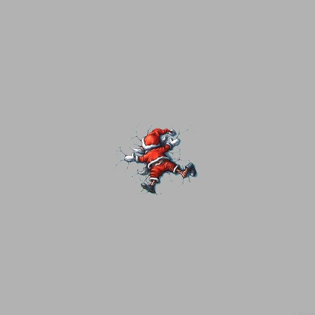 wallpaper android, sfondo babbo natale, grigio