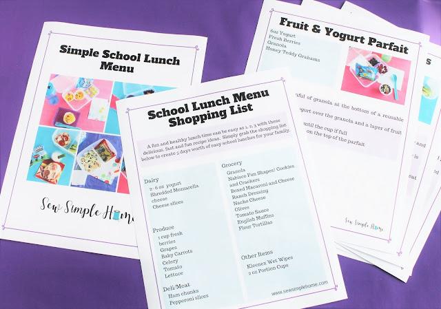 free simple school lunch menu