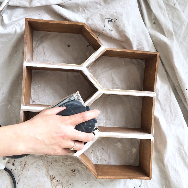 DIY Geometric Wall Shelf MinWax IDS17 Harlow & Thistle Sanding