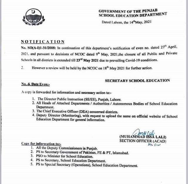 EXTENSION IN THE DATE OF CLOSURE OF SCHOOLS DUE TO CURRENT COVID-19 CONDITIONS