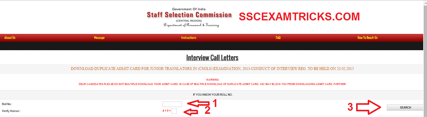 SSC CSOLS INTERVIEW LETTERS