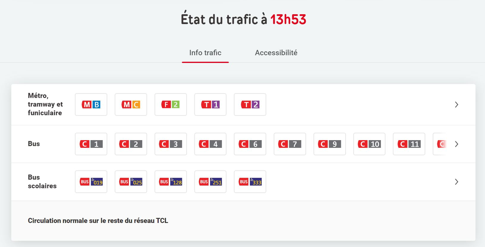 condition trafic TCL