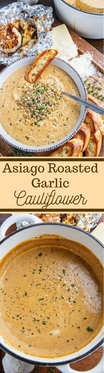 Asiago Roasted Garlic Cauliflower Soup #cauliflower #soup #roasted #garlic #dinner