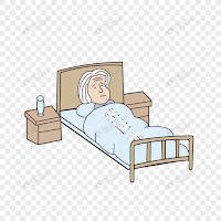 Old sick grandmother lying on bed