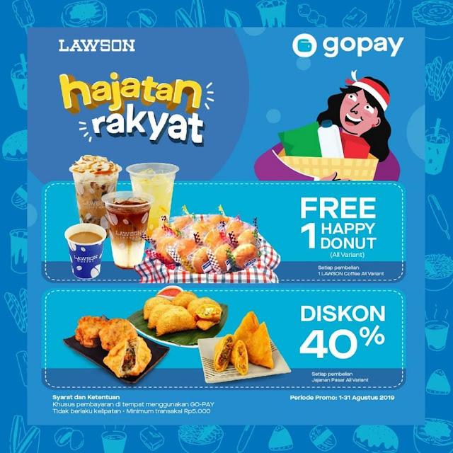 #Lawson - #Promo Hajatan Rakyat Diskon 40% & Free 1 Happy Donut Bayar Pakai GOPAY