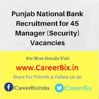 Punjab National Bank Recruitment for 45 Manager (Security) Vacancies
