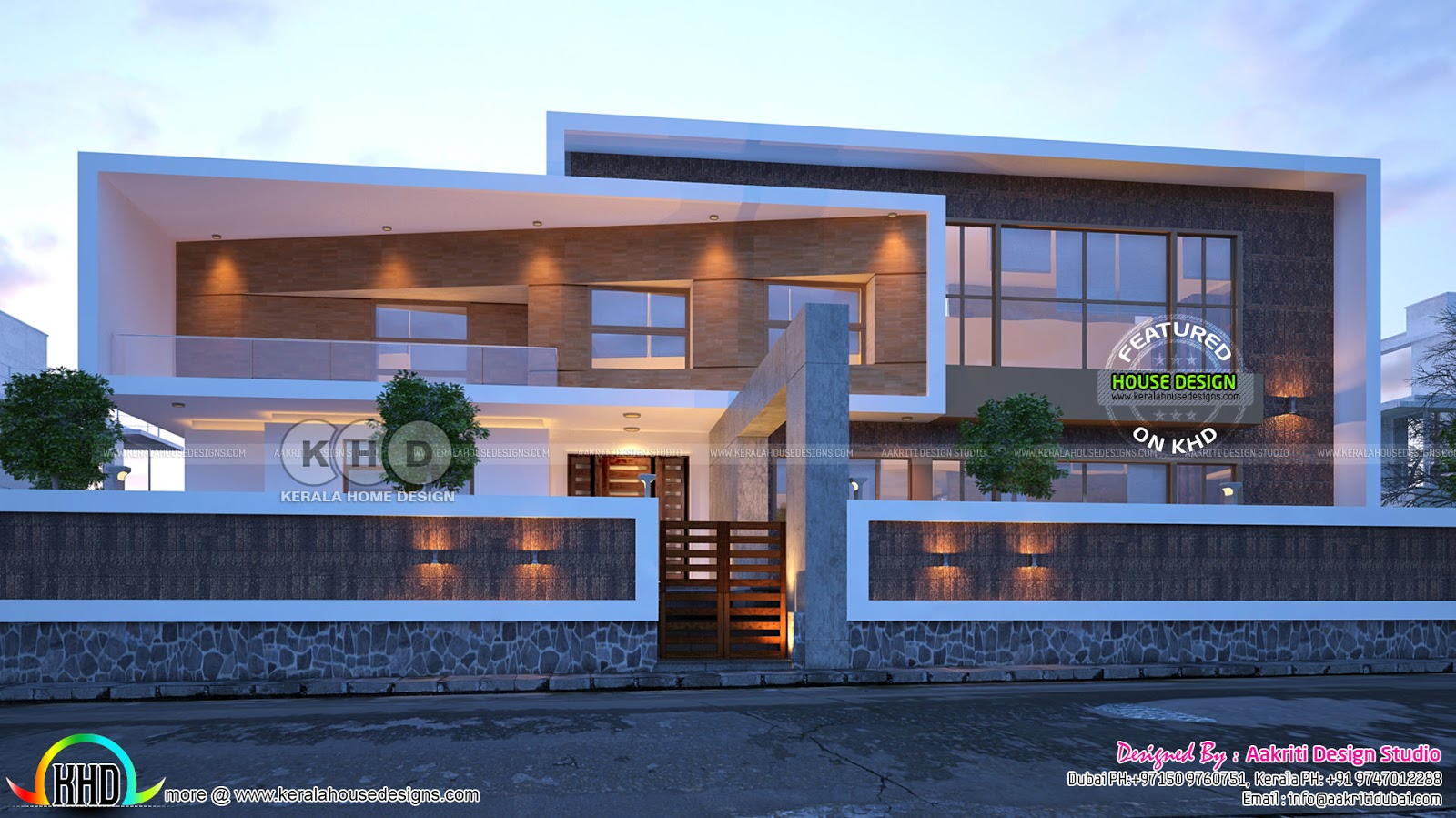 Box type flat roof contemporary home design kerala home for Modern box type house design