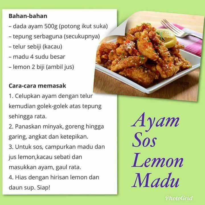resepi ayam sos lemon madu