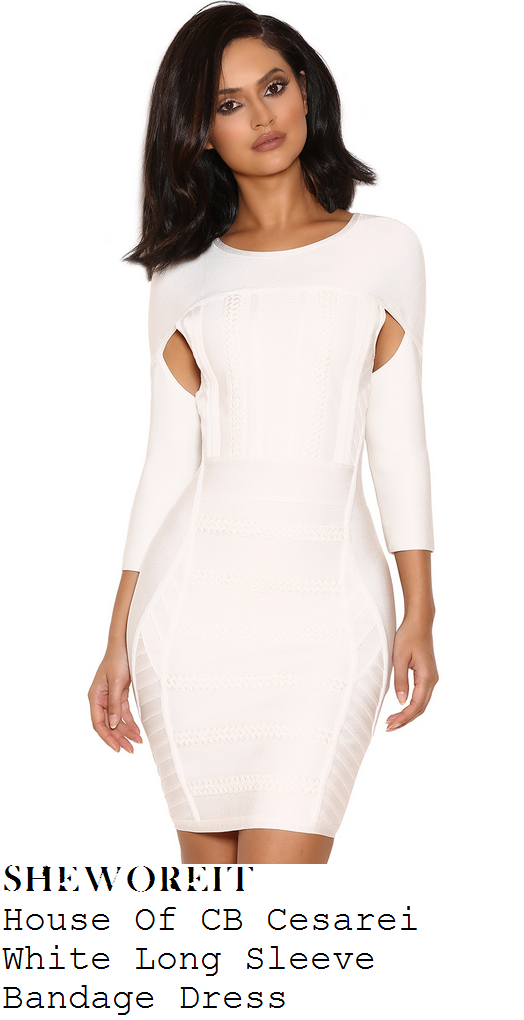 c7638701596d Aubrey O'Day's House Of CB Cesarei Bright White Placement Braid & Panel  Detail Three Quarter Sleeve Bodycon Bandage Dress