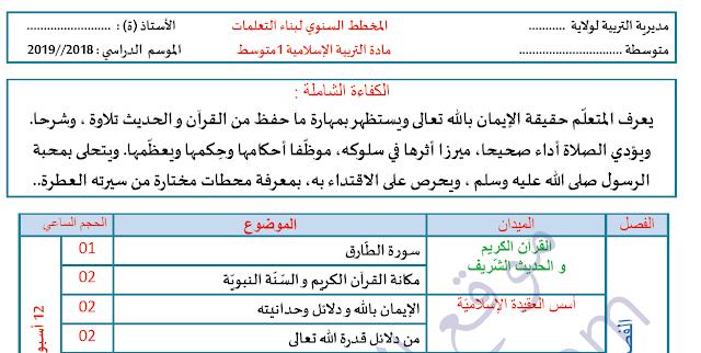 التوزيع السنوي لمادة التربية الاسلامية للسنة الاولى متوسط