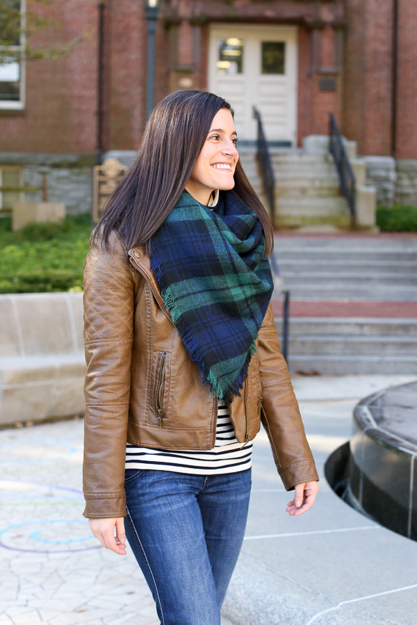 what to wear with a leather jacket and plaid blanket scarf for fall