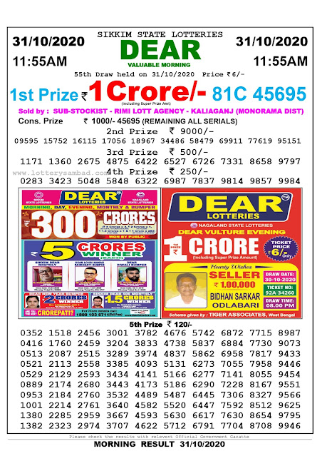 Lottery Sambad 31-10-2020, Lottery Sambad 11.55 am results, Sikkim Lottery Results, Lottery Sambad Today Results Live, Morning results