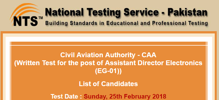 NTS List of Candidates CAA Civil Aviation Authority 2018