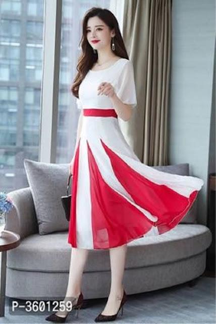 Women's White Georgette Midi Length Dress