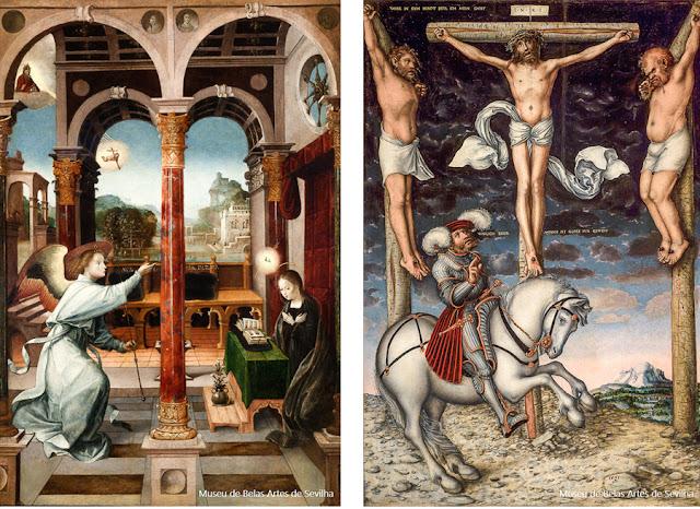 Anunciação (1508), de Alejo Fernandez, e o Calvário (1538), de Lucas Cranach, no Museu de Belas Artes de Sevilha
