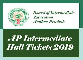 AP Inter Hall ticket 2019, AP Intermediate 1st year / 2nd year Hall tickets 2019, AP Intermediate Hall ticket 2019