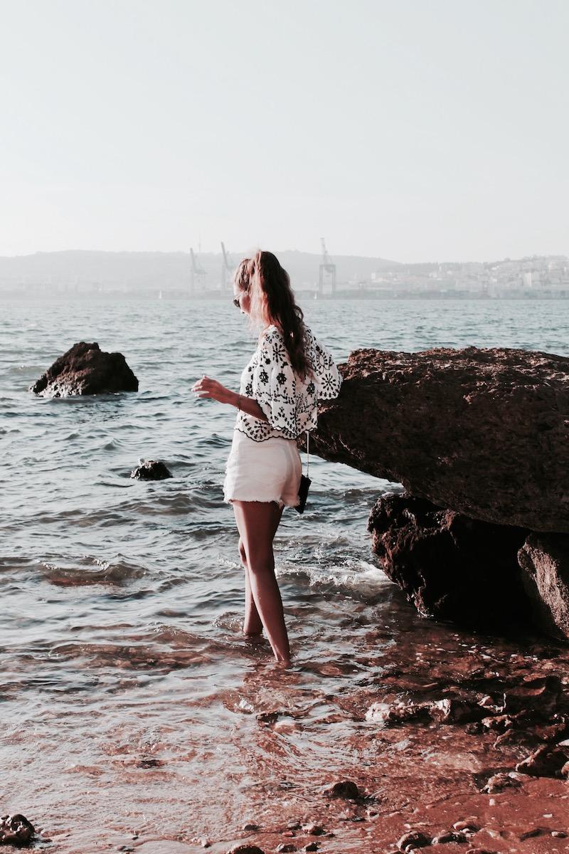 tumblr girl beach sand long hair embroidery top