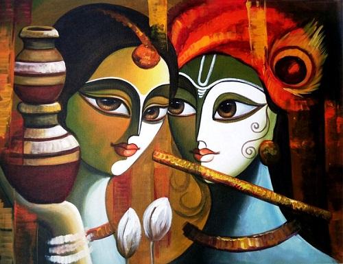 Beautiful Modern Art Radha Krishna Painting