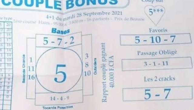 Pronostic quinté Mardi Paris-Turf TV-100 % 28/09/2021