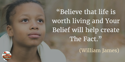 "71 Quotes About Life Being Hard But Getting Through It: ""Believe that life is worth living and your belief will help create the fact."" - William James"