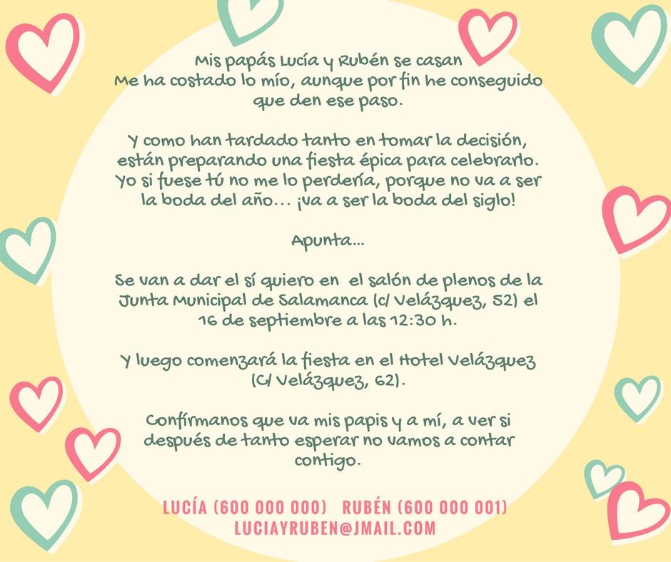 Quién Dijo Boda? Textos Formales y Divertidos para Invitaciones de Boda - formato para invitacion