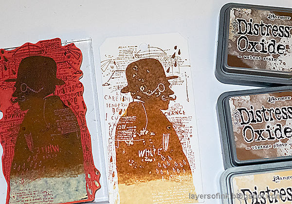 Layers of ink Sherlock Holmes Tag Tutorial by Anna-Karin Evaldsson. Ink with Distress Oxide.