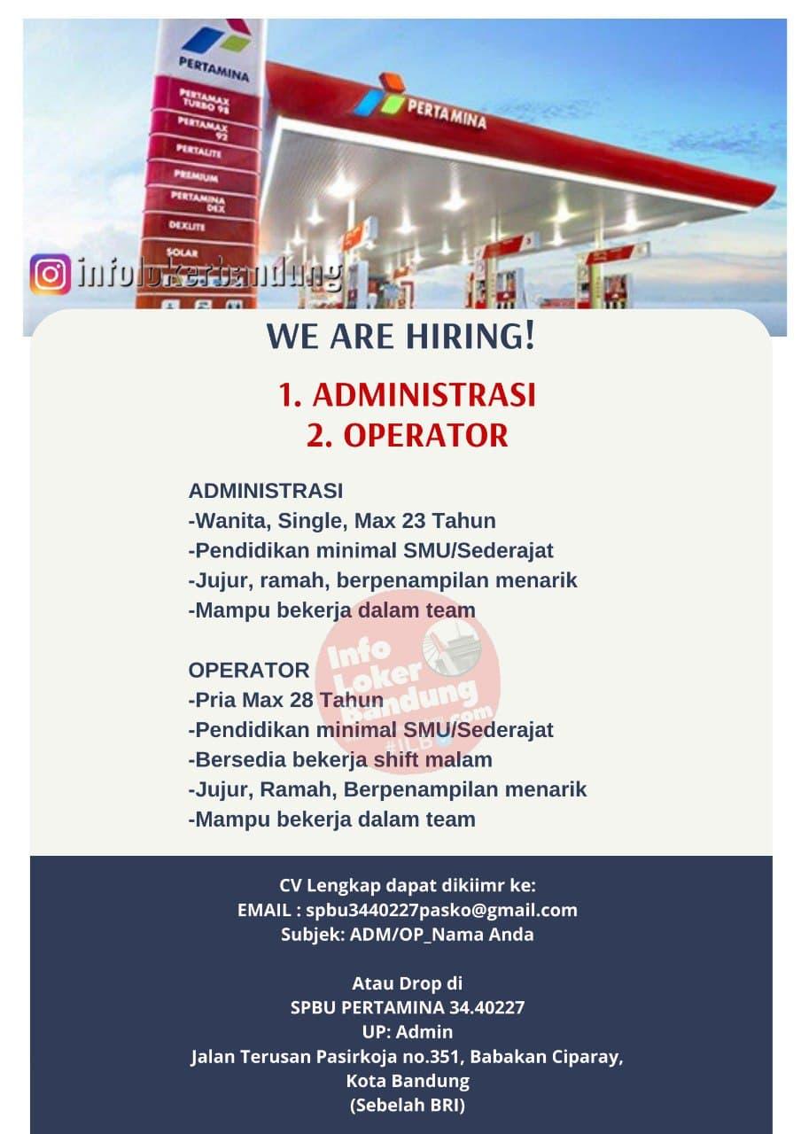 Lowongan Kerja SPBU PERTAMINA 34.40227 Pasir Koja Bandung September 2021