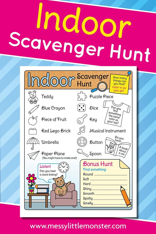 Free printable indoor scavenger hunt for kids.