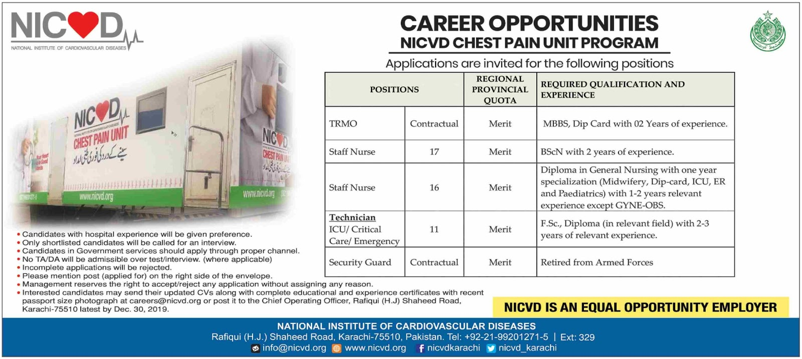 NICVD Chest Pain Unit Program Jobs 2019 Karachi Latest