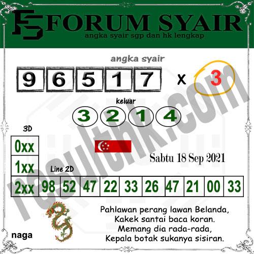 Forum Syair SGP Sabtu 18 September 2021