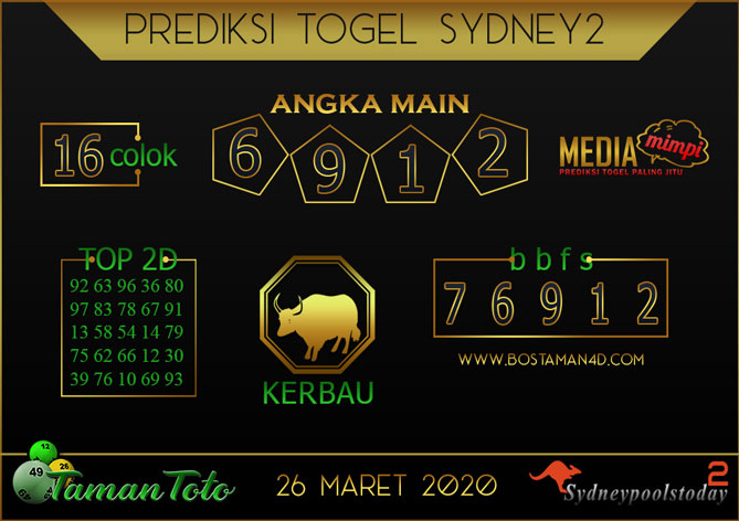 Prediksi Togel SYDNEY 2 TAMAN TOTO 26 MARET 2020