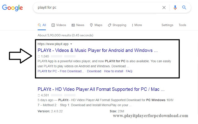 Search playit for pc