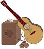 Dibujo de instrumentos musicales del Día de la canción criolla