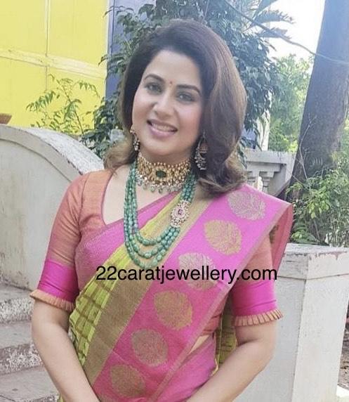 Sangeetha Green Emerald Beads Set