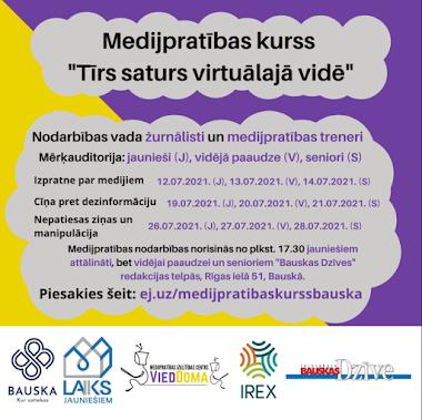 Sākot ar 12. jūliju, Bauskas novada iedzīvotājiem ir pieejamas bezmaksas nodarbības medijpratībā.