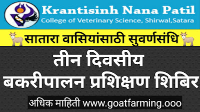 Goat Farming Training In Satara Maharashtra 2019