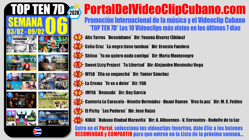 Artistas ganadores del * TOP TEN 7D * con los 10 Videoclips más vistos en la semana 06 (03/01 a 09/02 de 2020) en el Portal Del Vídeo Clip Cubano