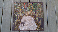 Deer autumn leaves art mini quilt