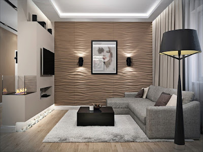 false ceiling LED lights and POP wall lighting for modern living room interiors 2019