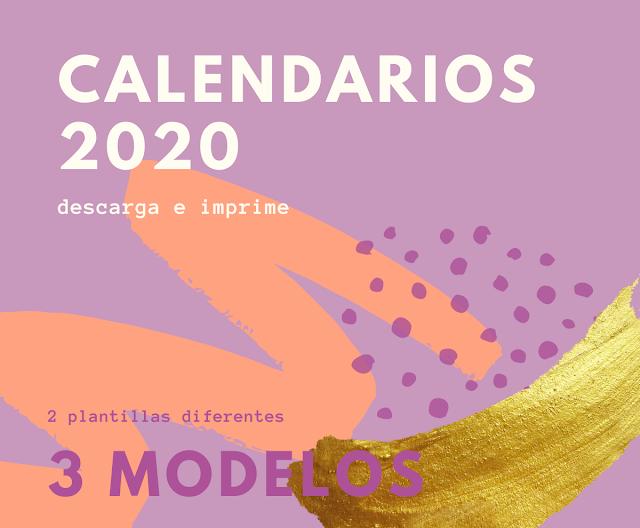 calendarios, 2020, pdf, descargar, imprimir, gratis